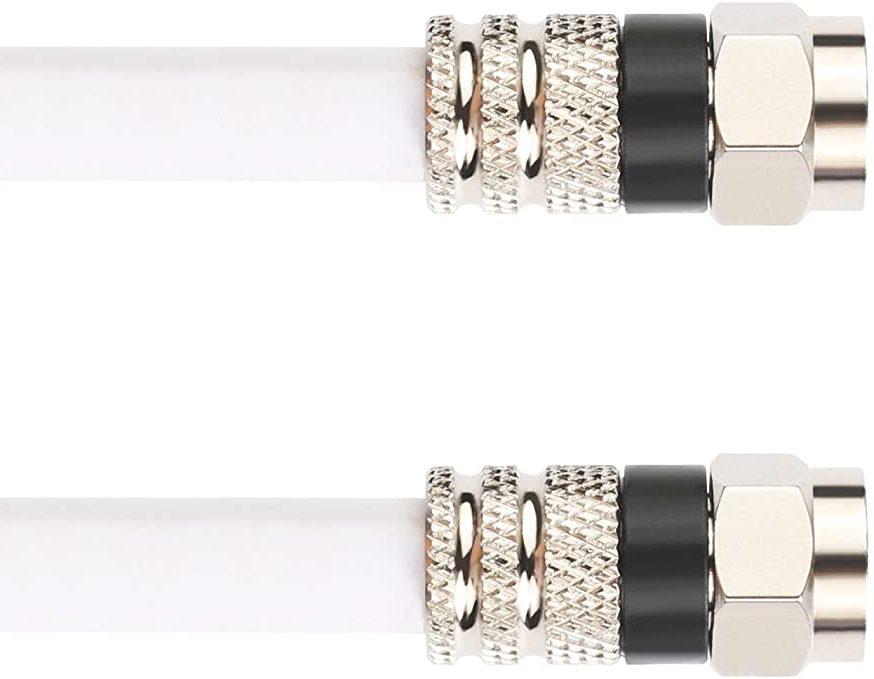 Câble RG6 blanc avec connecteurs F-Mâle